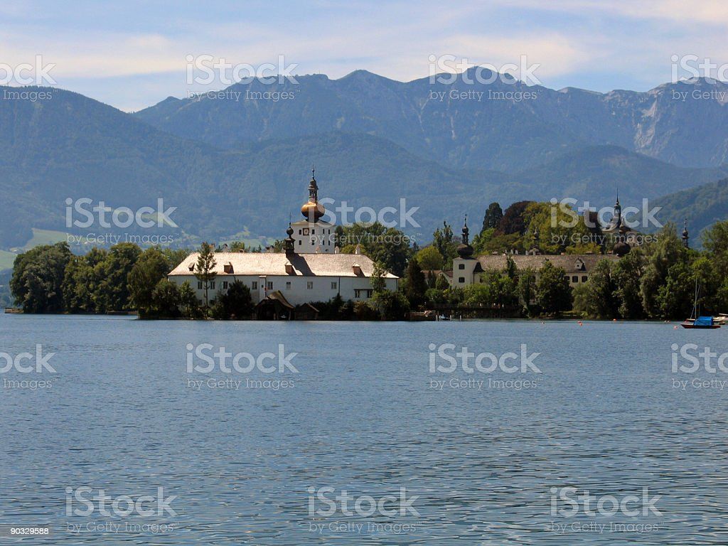 Castle by Lake stock photo