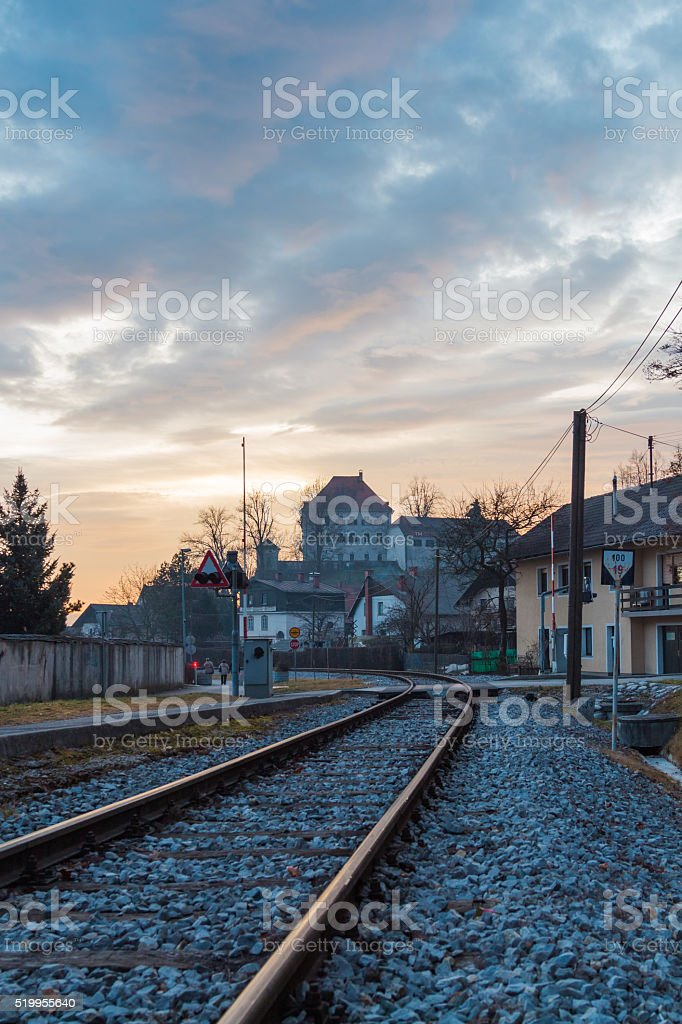 Castle by the railroad. stock photo
