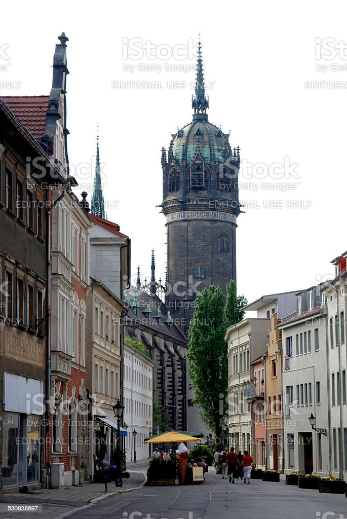 Castle church of Wittenberg stock photo