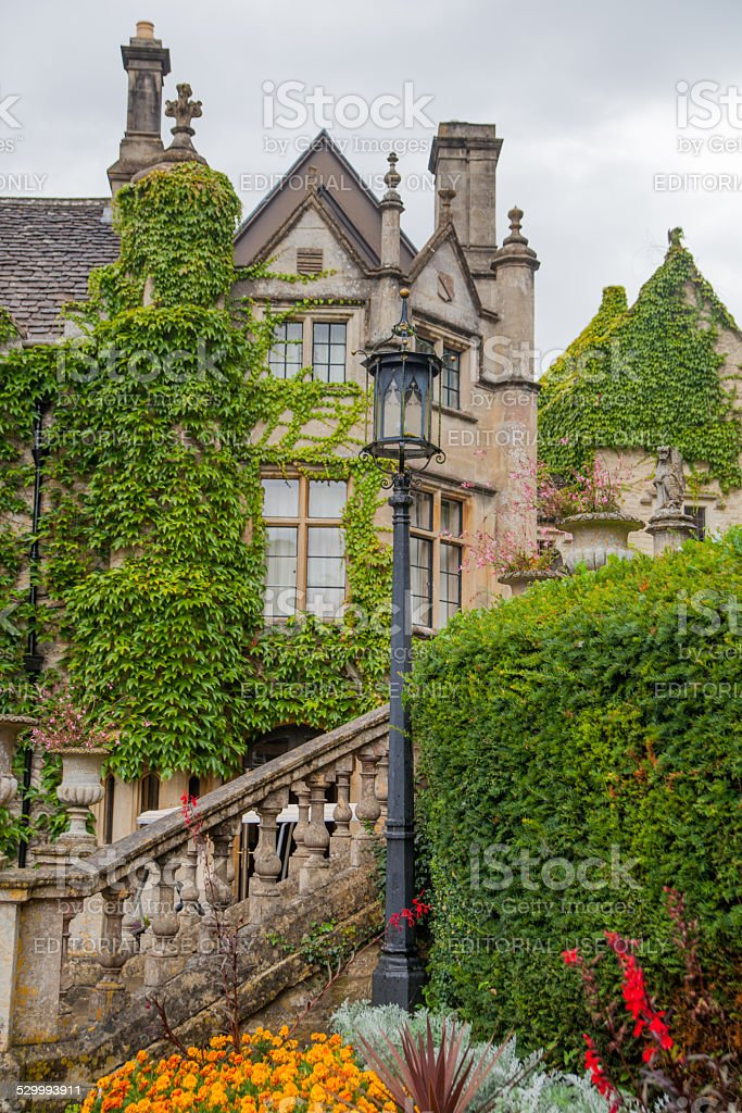Castle Combe mansion, old house and park stock photo