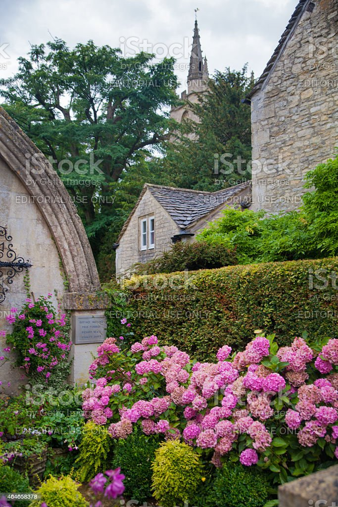 Castle Combe old church and grave yard stock photo