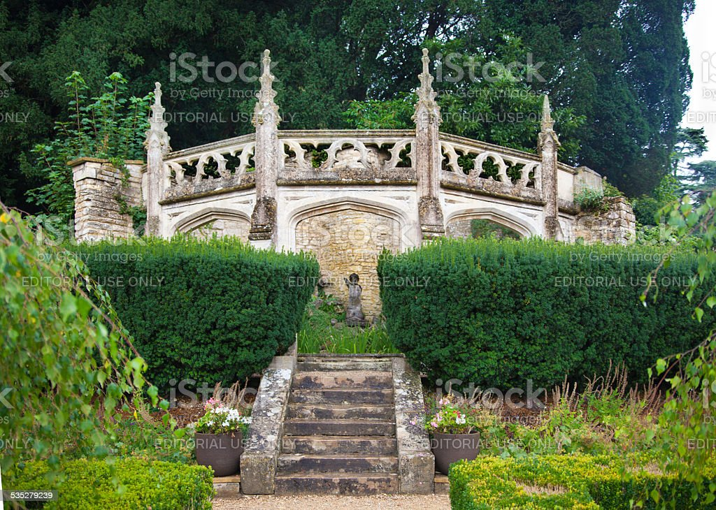 Castle Combe old park stairs, UK stock photo