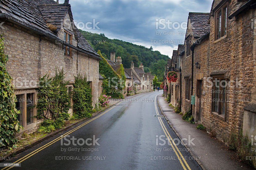 UK, Castle Combe old street view stock photo