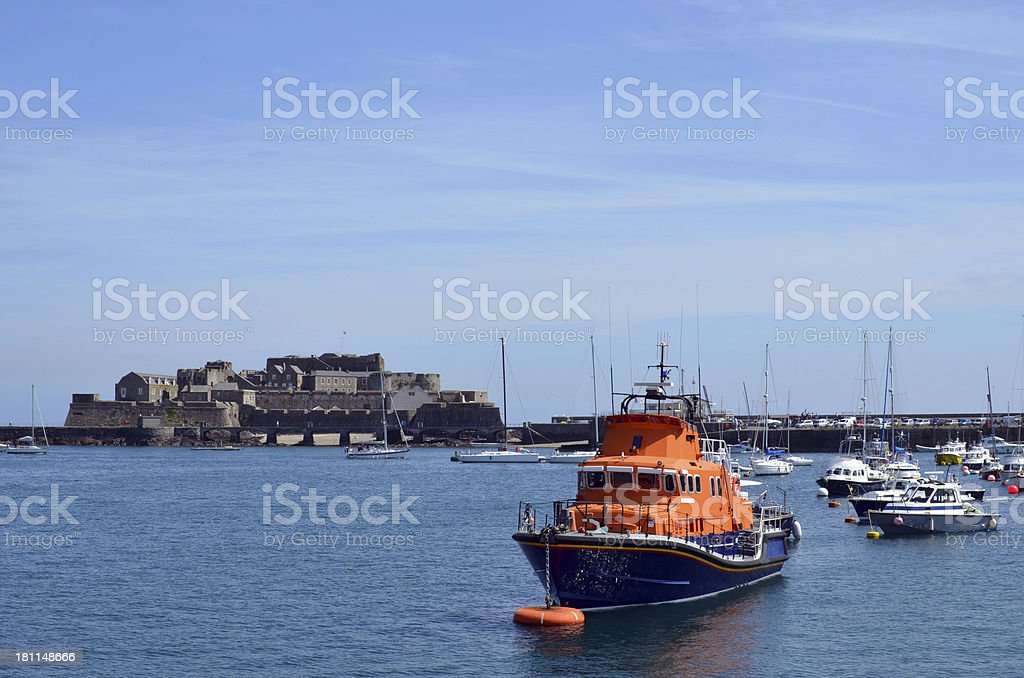Castle Corney, Guernsey Harbour royalty-free stock photo