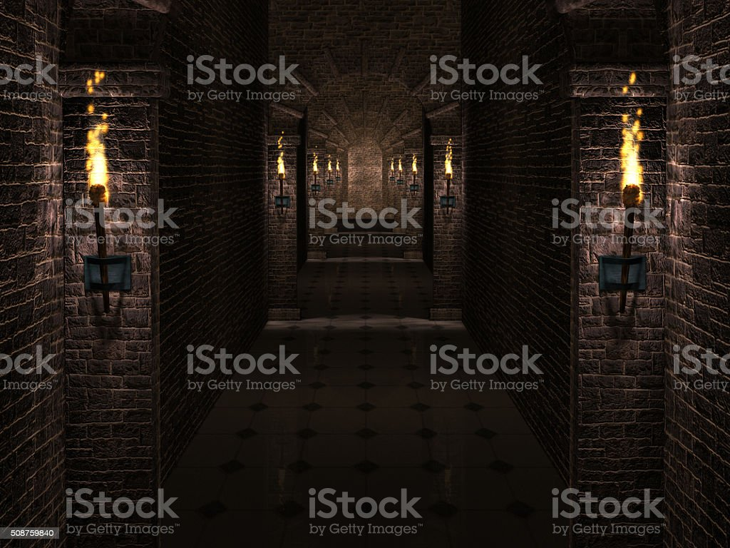 Castle corridor stock photo