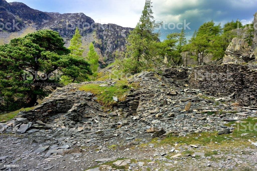 Castle Crag slate stock photo