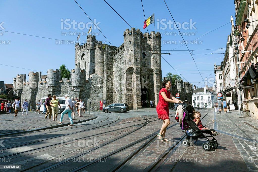 castle Gravensteen in Belgian town of Ghent stock photo
