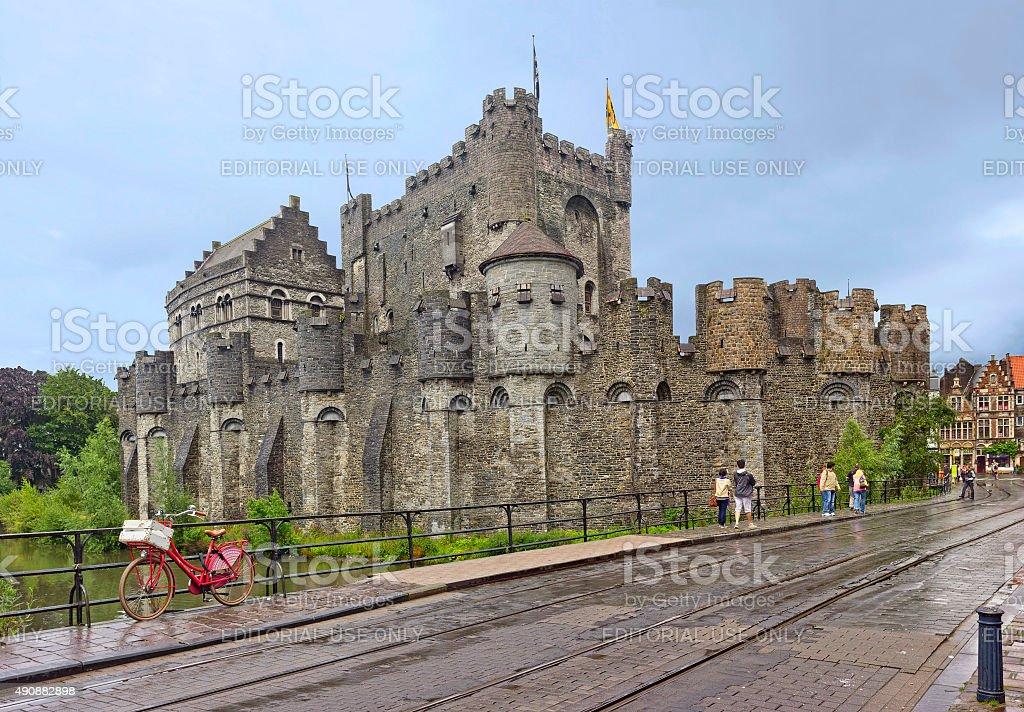 Castle Gravensteen in Ghent, Belgium stock photo