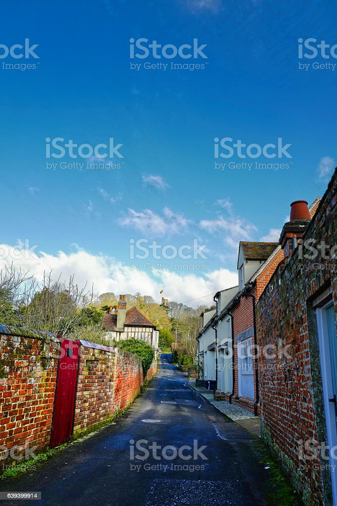Castle Hedingham Village. stock photo
