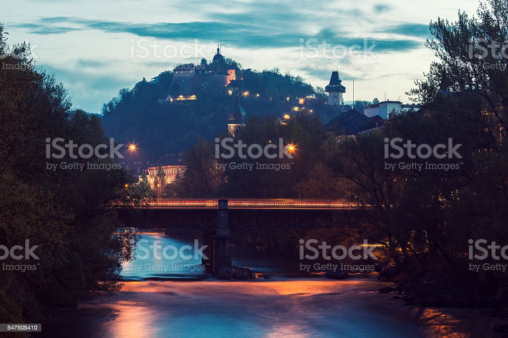 Castle Hill and Mur River stock photo