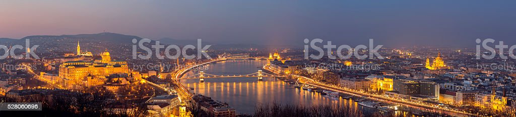 Castle Hill Chain Bridge Parliament St Stephen's Basilica in Budapest stock photo