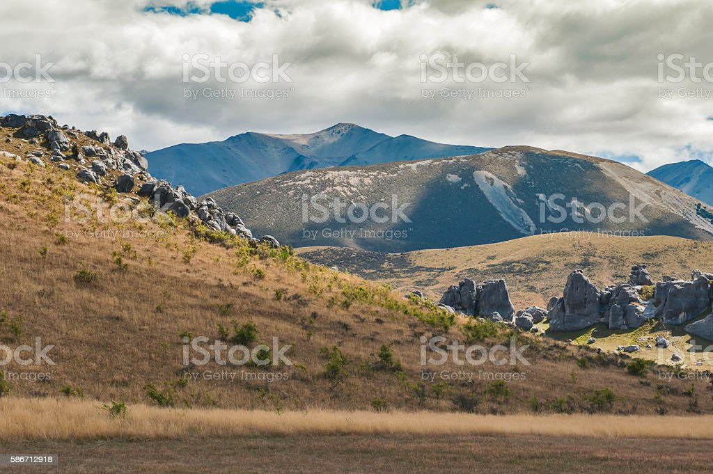 Castle Hill in Arthur's Pass, South Island of New Zealand stock photo