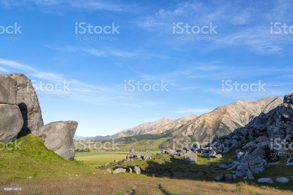 Castle hill landscape in South Island, New Zealand stock photo