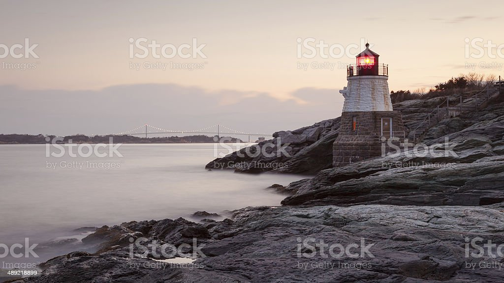 Castle Hill Lighthouse at Sunrise stock photo