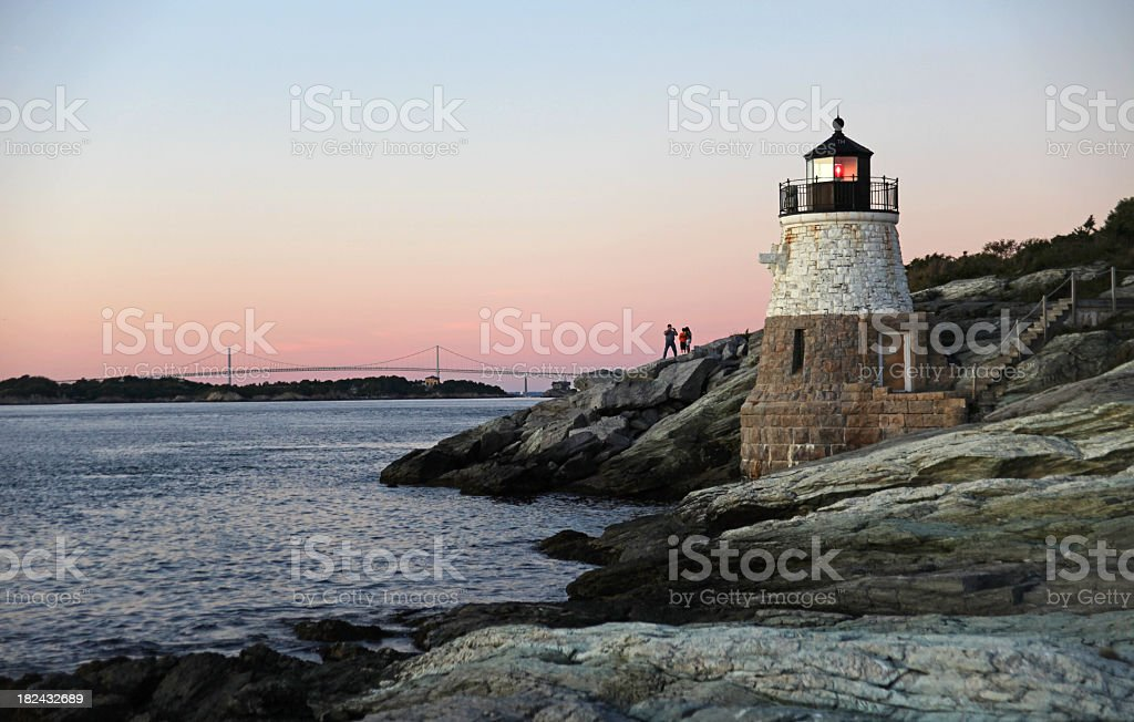 Castle Hill Lighthouse in Newport, rhode Island stock photo