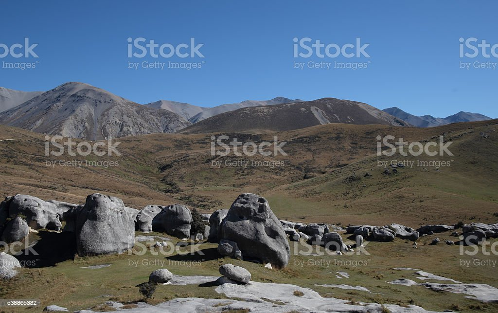 Castle hill on the way to arthur pass national park stock photo