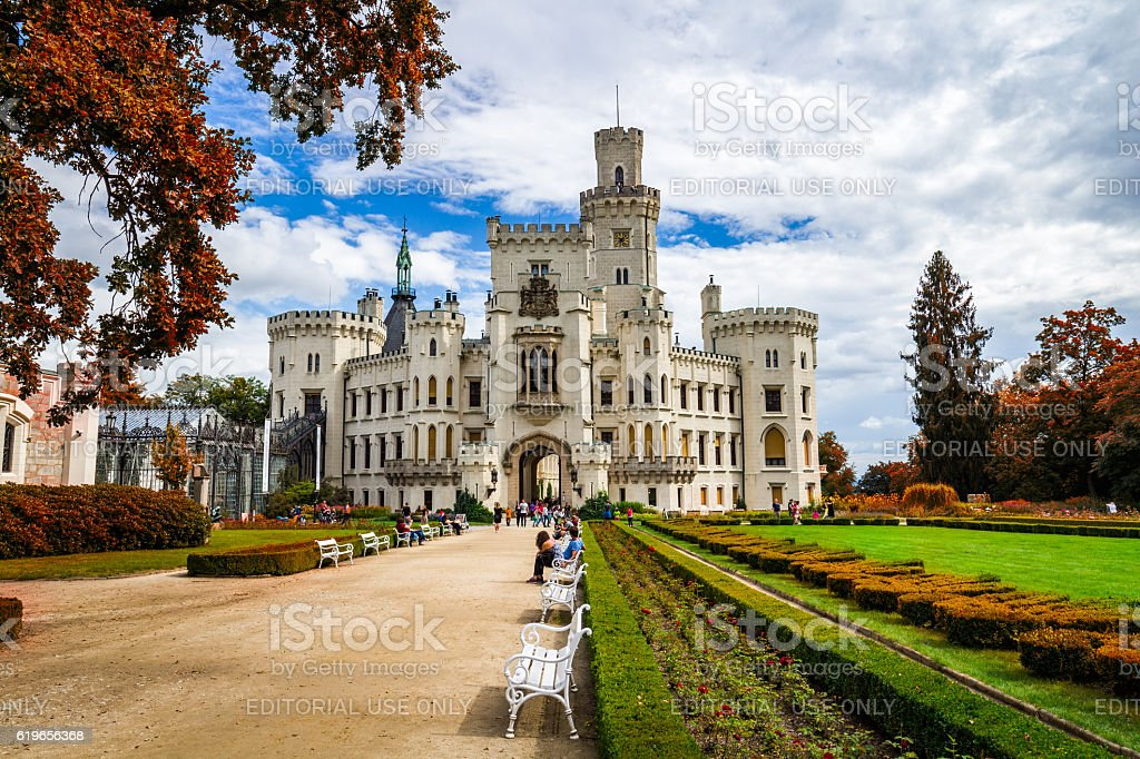 Castle Hluboka nad Vltavou in autumn with red foliage stock photo