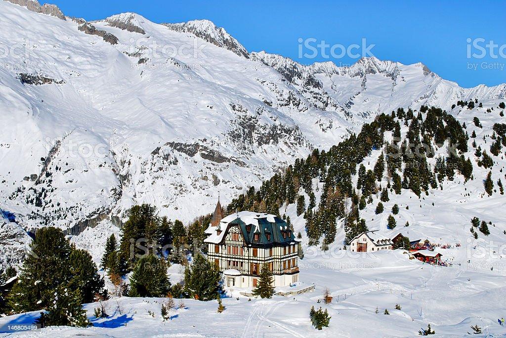 Castle in Alps stock photo