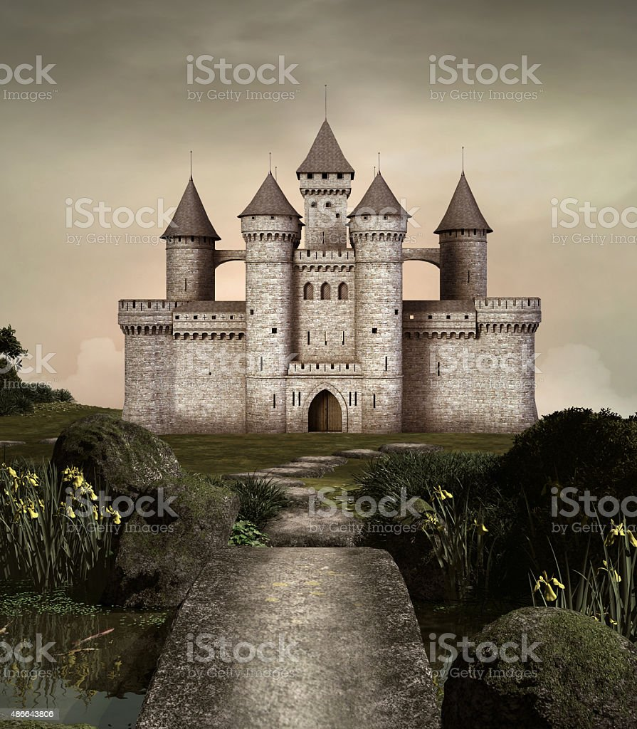 Castle in an enchanted garden vector art illustration