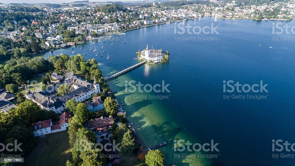 Castle in Gmunden, Schloss orth, aerial view stock photo