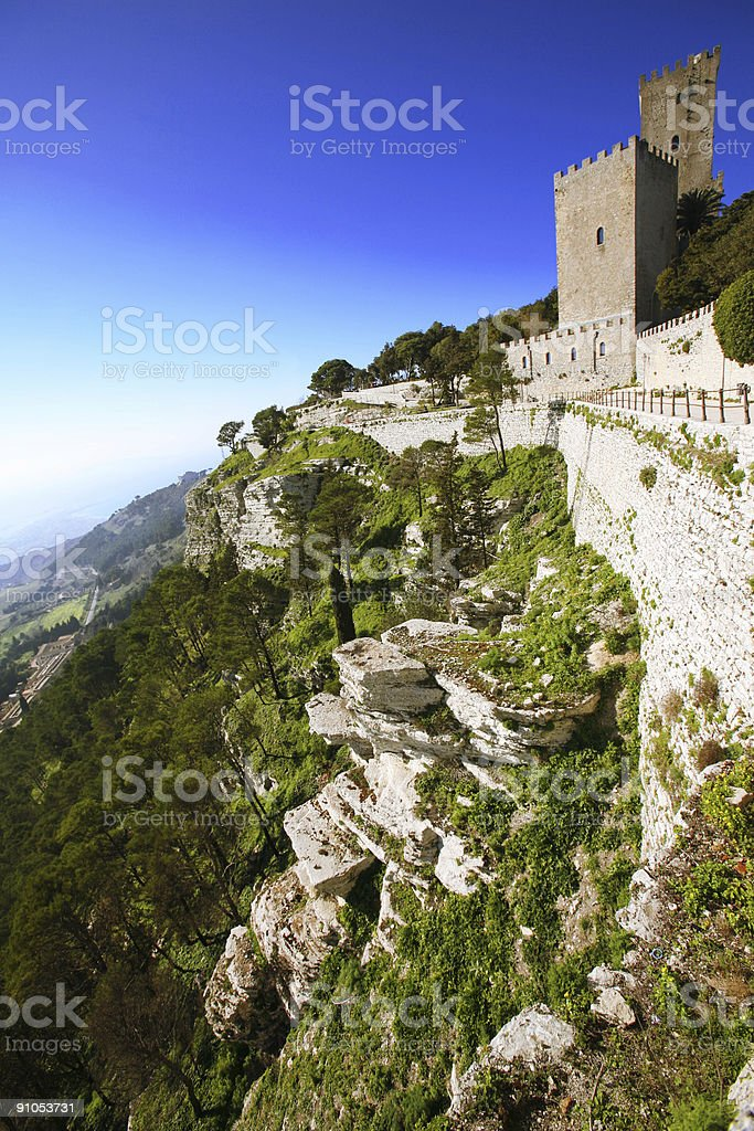 castle in mountains stock photo