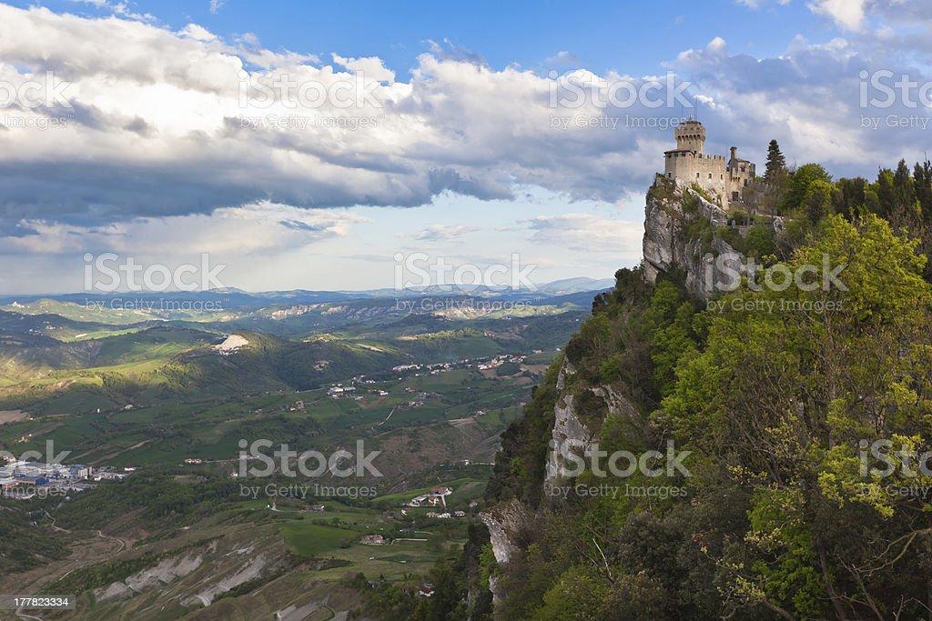 Castle in San Marino -La CestaorFratta royalty-free stock photo
