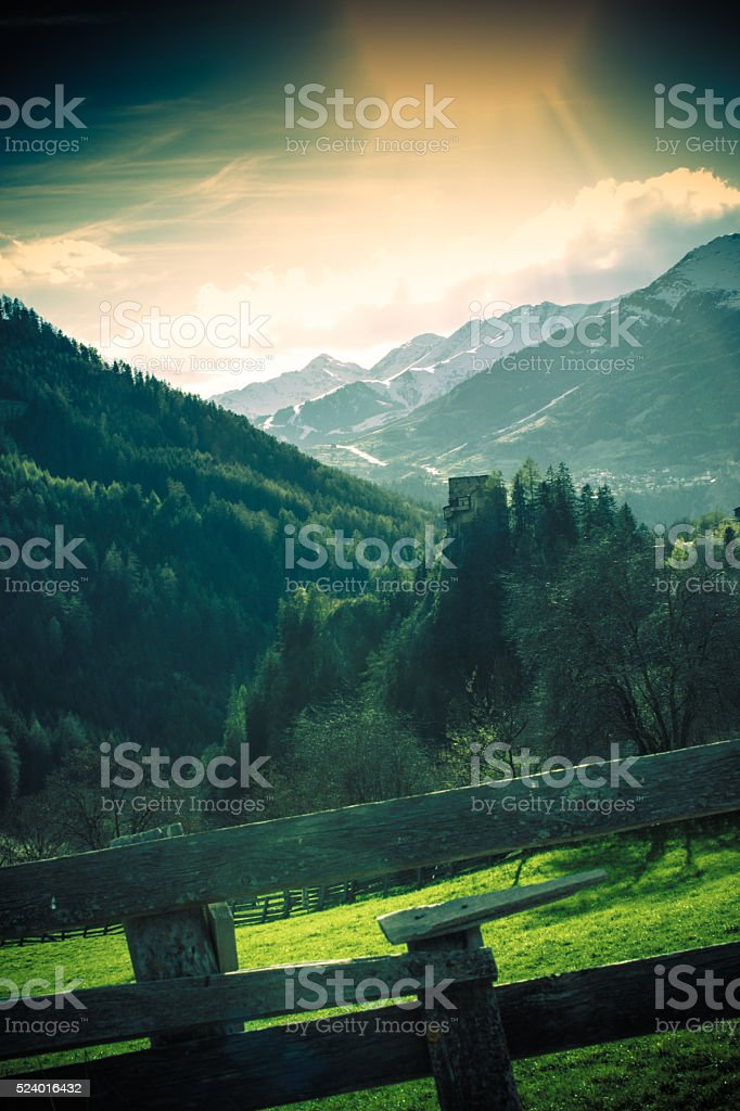 Castle in the Alp mountains stock photo
