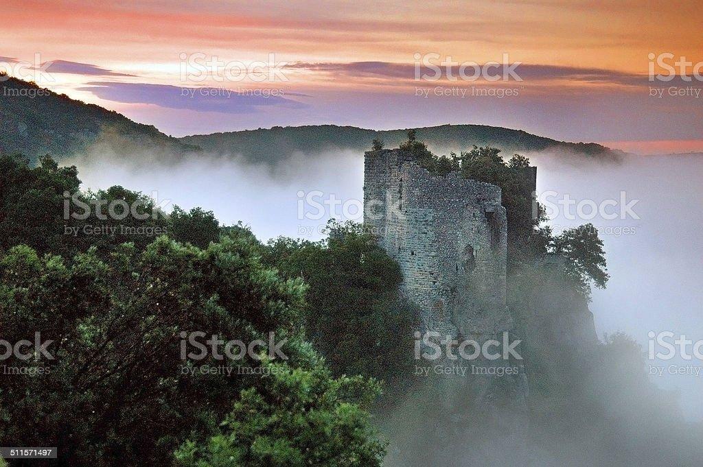 Castle in the Ceze Valley (Vallee de la Ceze), France stock photo