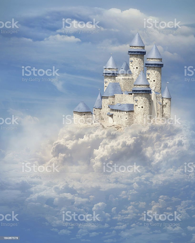 Castle in the clouds stock photo