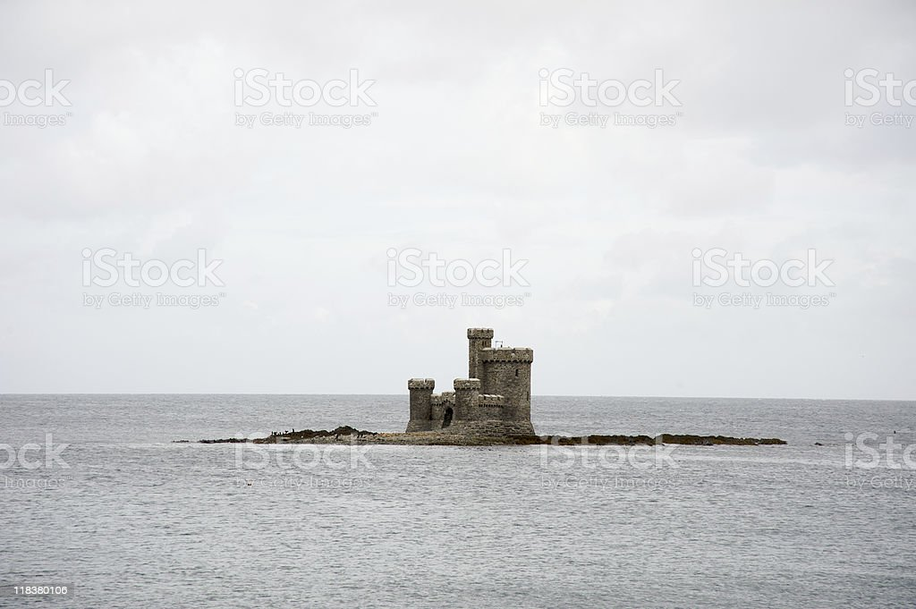 Castle in the sea stock photo