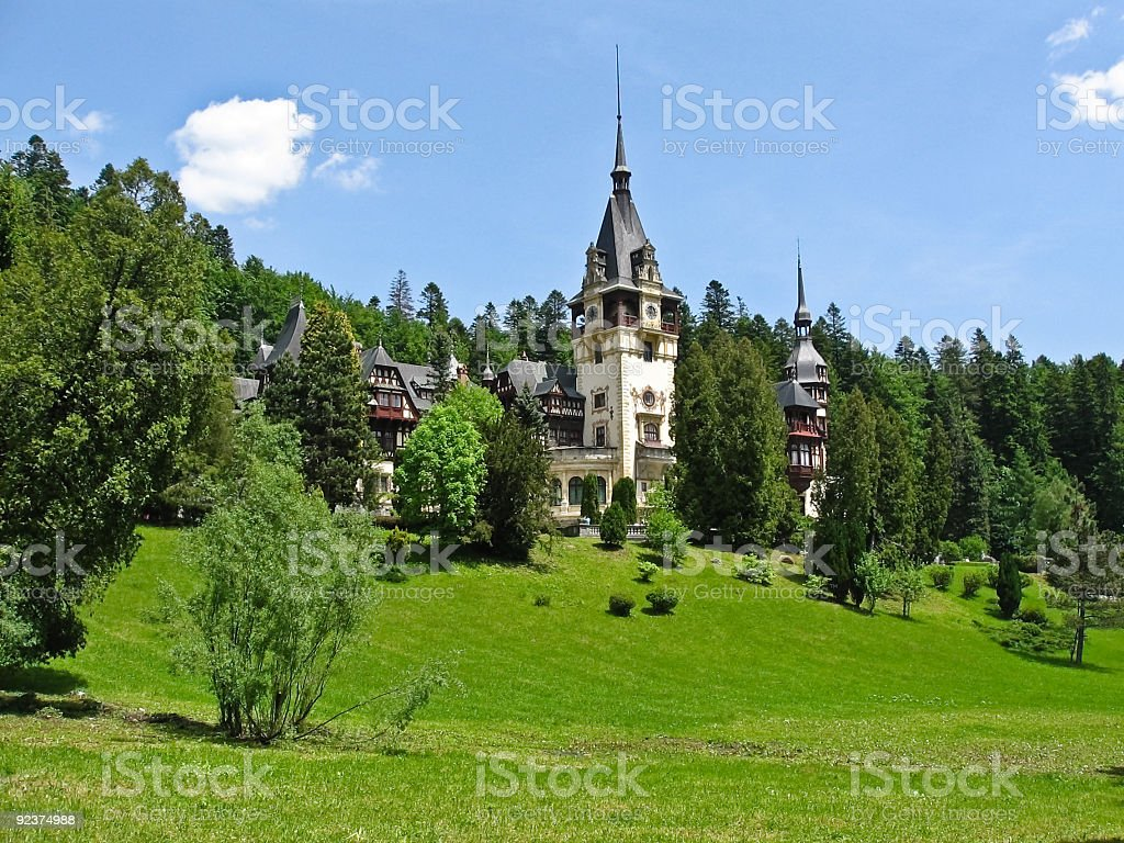Castle in the woods stock photo