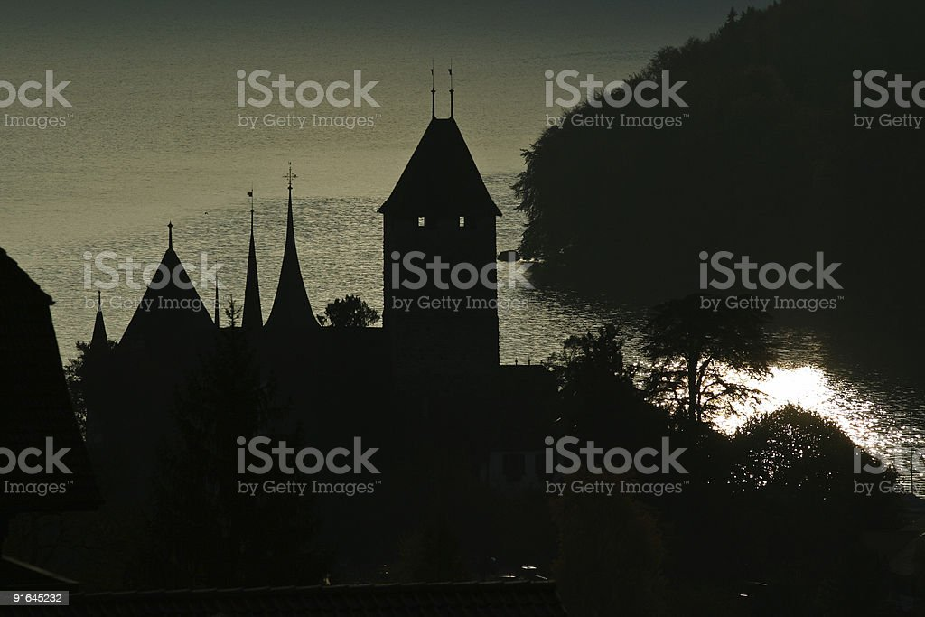 Castle lake silhouette royalty-free stock photo