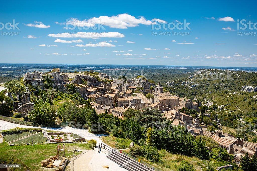 Castle Les Baux de-Provence, Provence, France on warm sunny day stock photo