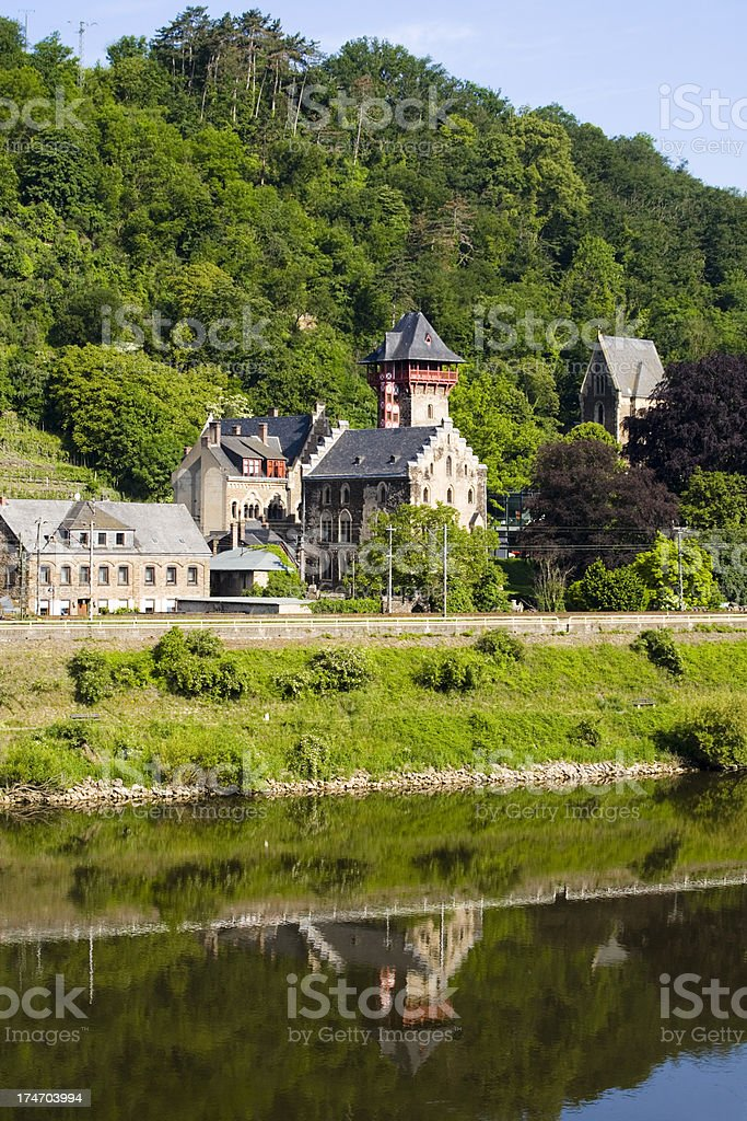 Castle Liebig at the Mosel River stock photo