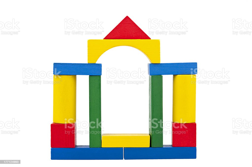 Castle made from wooden toy blocks royalty-free stock photo