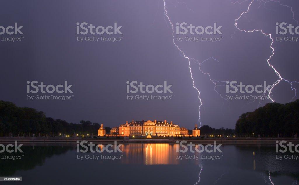 Castle Nordkirchen with lightning strike stock photo