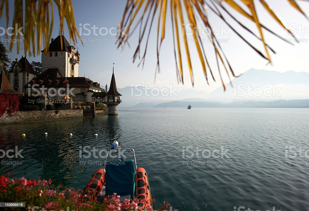 Castle Oberhofen am Thunersee stock photo