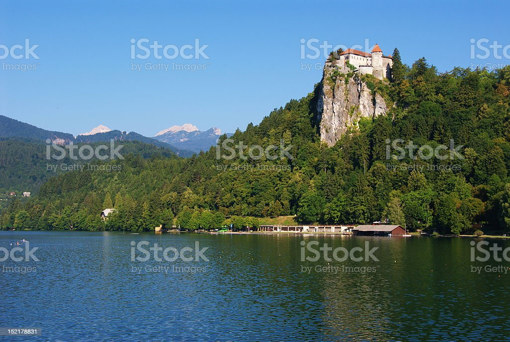 Castle of Bled and Mt. Triglav royalty-free stock photo