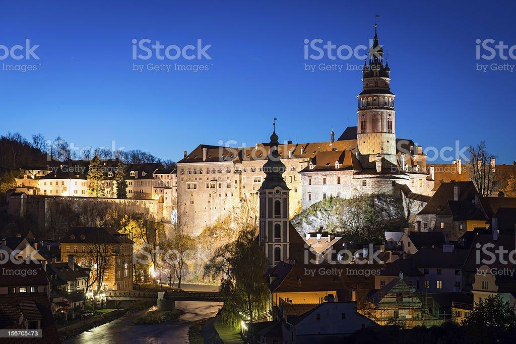 castle of Cesky Krumlov at night, Czech Republic royalty-free stock photo