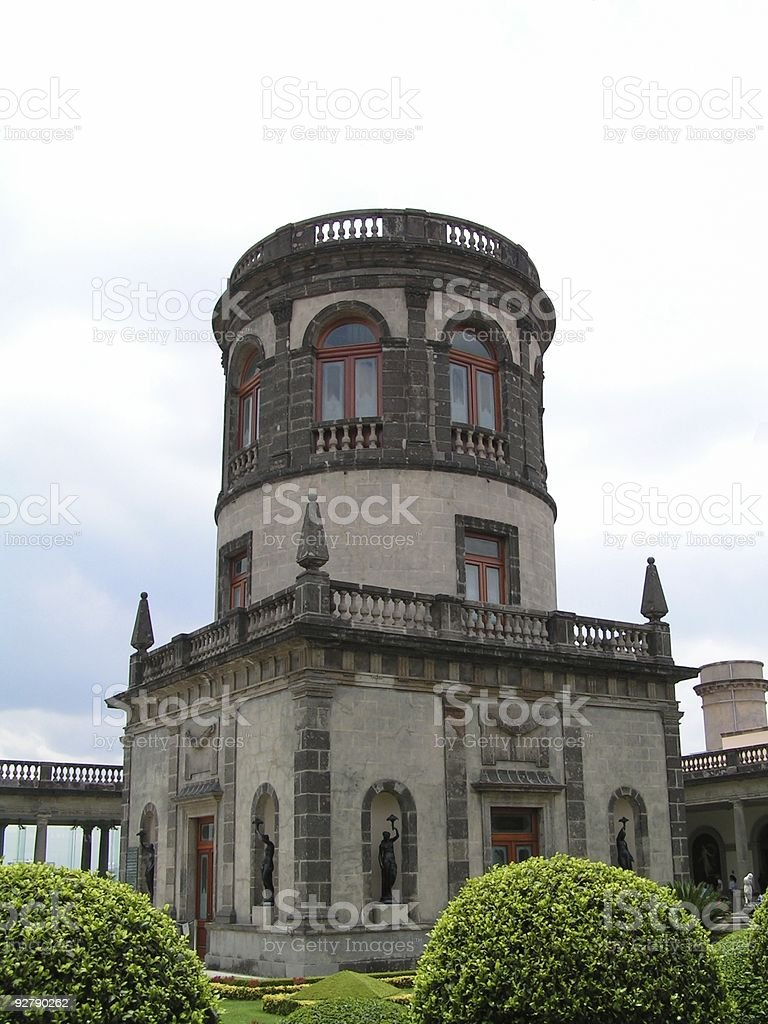 Castle of chapultepec garden stock photo