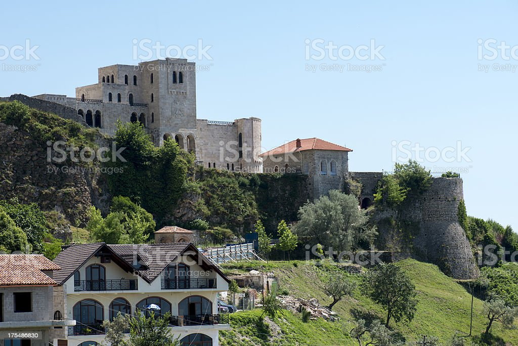 Castle of Kruj? and Skanderbeg Museum over the skyline stock photo