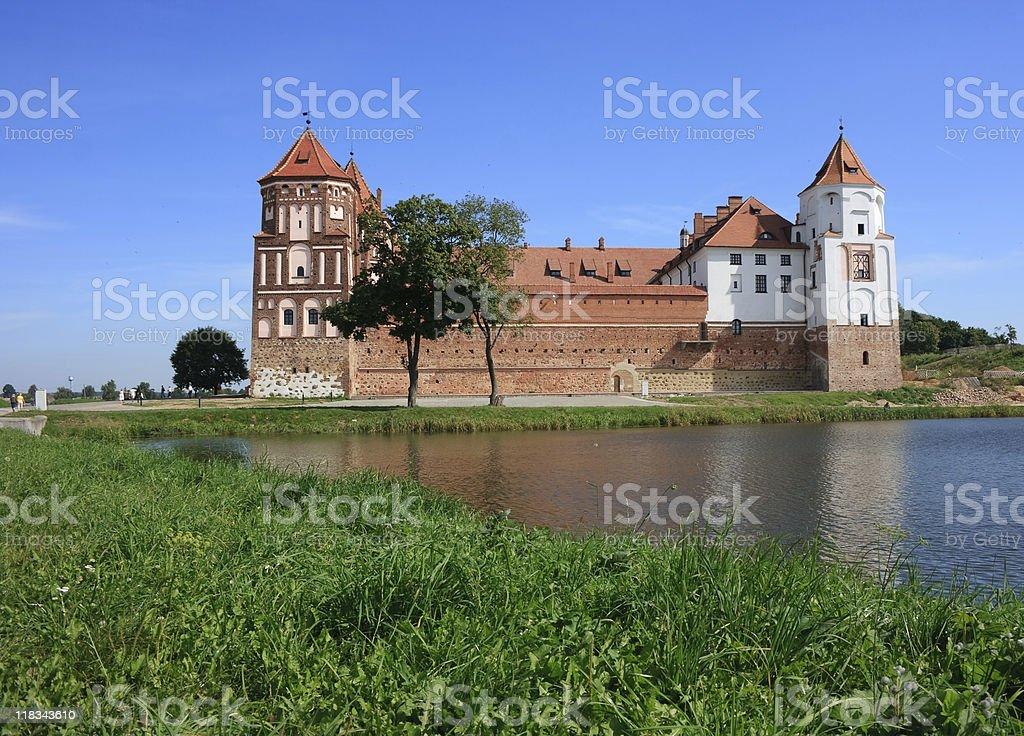 Castle of Mir in Belarus stock photo