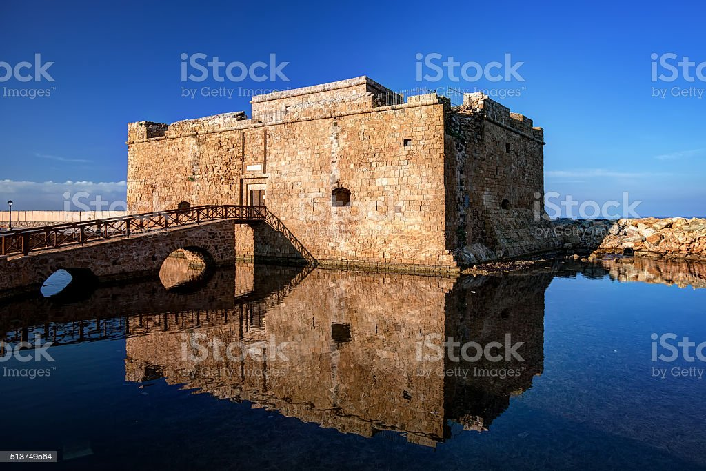 Castle of Paphos with reflection on the water, Cyprus stock photo
