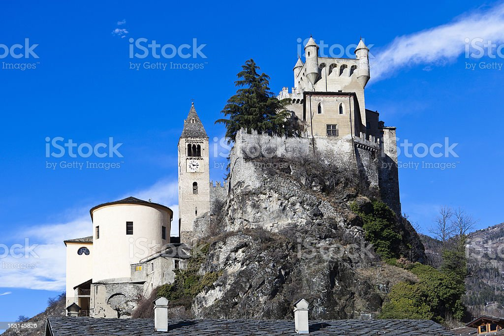 Castle of Saint-Pierre, Aosta Valley royalty-free stock photo