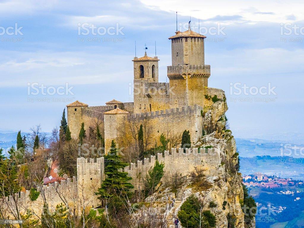 Castle of San Marino on the hill stock photo
