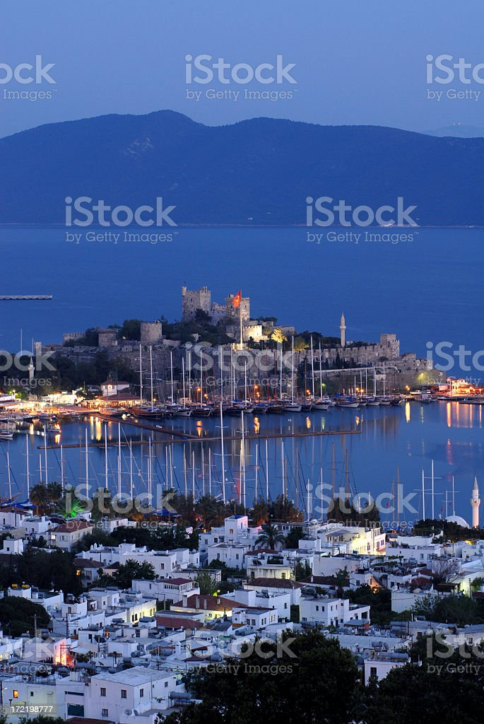 Castle of St Peter in Bodrum, Turkey at dusk stock photo