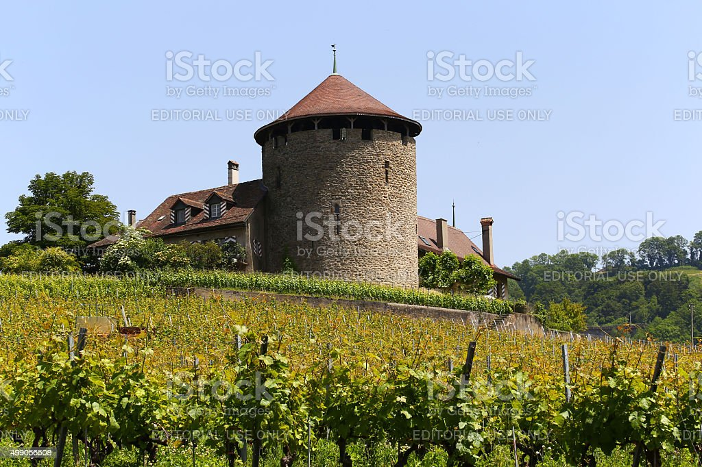 Chateau de la tour Bertholod in small Swiss village Lutry stock photo