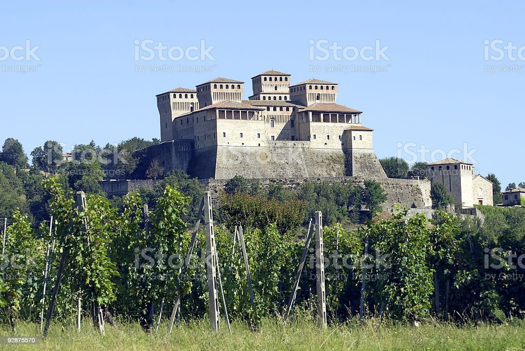 Castle of Torrechiara (Parma) and vineyard royalty-free stock photo
