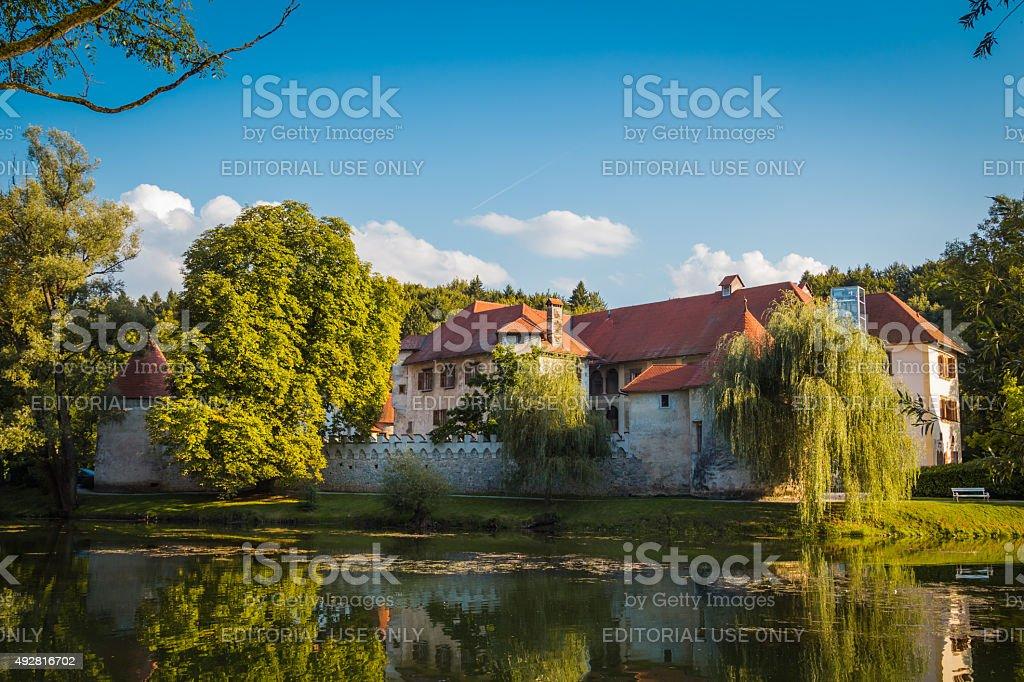 Castle on island. stock photo