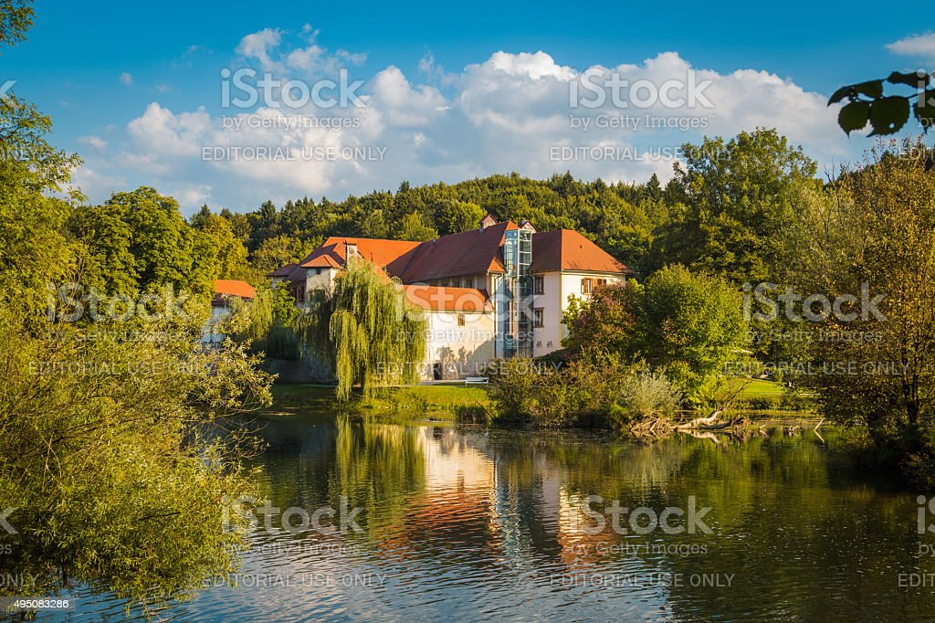 Castle on the river. stock photo